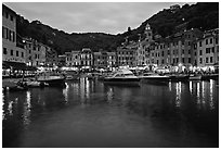 Port at dusk, Portofino. Liguria, Italy (black and white)