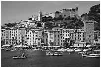 Castle, village, and harbor, Porto Venere. Liguria, Italy (black and white)