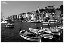 Boats village, and Harbor, Porto Venere. Liguria, Italy (black and white)