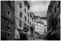 Main street, Riomaggiore. Cinque Terre, Liguria, Italy ( black and white)