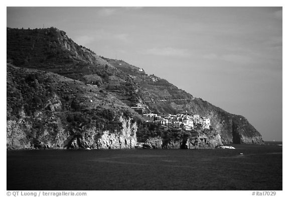 Manarola seen from Corniglia. Cinque Terre, Liguria, Italy (black and white)