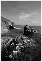 Mediterranean coastline and rocks near Manarola. Cinque Terre, Liguria, Italy ( black and white)