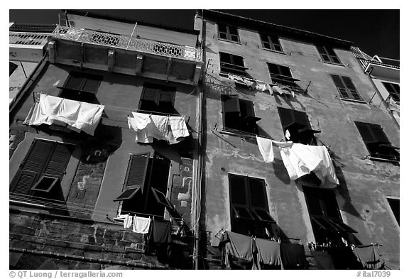 Typical terra cotta facade with clothelines and green shutters,  Vernazza. Cinque Terre, Liguria, Italy (black and white)