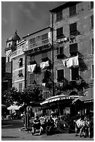 Resting at outdoor terrace on Piazza Guglielmo Marconi, Vernazza. Cinque Terre, Liguria, Italy (black and white)