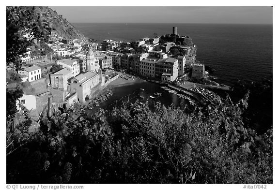 Harbor, church, 11th century castle and village, late afternoon, Vernazza. Cinque Terre, Liguria, Italy (black and white)