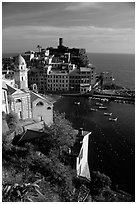 Fishing port, church, old castle and village, Vernazza. Cinque Terre, Liguria, Italy (black and white)