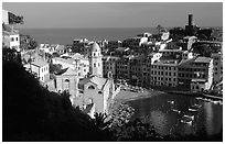 Harbor and Castello Doria (11th century), late afternoon, Vernazza. Cinque Terre, Liguria, Italy (black and white)