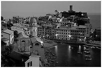 Harbor and Castello Doria, sunset, Vernazza. Cinque Terre, Liguria, Italy (black and white)
