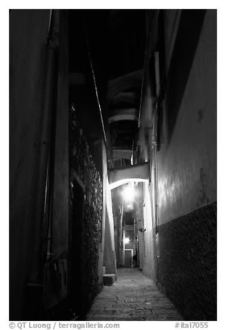 Narrow street at night, Vernazza. Cinque Terre, Liguria, Italy (black and white)