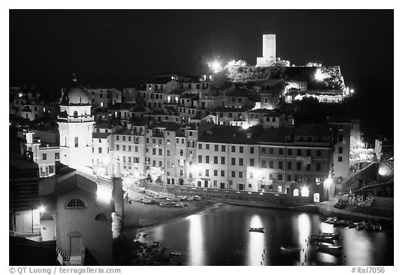 Harbor and Castello Doria at night, Vernazza. Cinque Terre, Liguria, Italy (black and white)