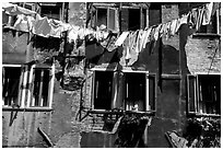 Hanging Laundry and walls, Castello. Venice, Veneto, Italy ( black and white)