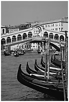 Gondolas and Rialto Bridge. Venice, Veneto, Italy (black and white)