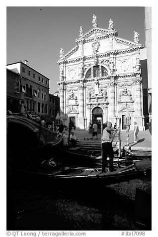 Gondola and church. Venice, Veneto, Italy (black and white)