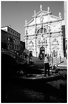 Gondola and church. Venice, Veneto, Italy ( black and white)