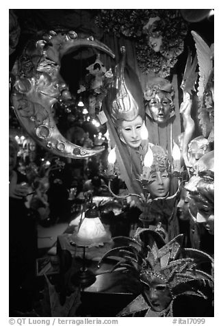 Carnival gear displayed in a storefront. Venice, Veneto, Italy (black and white)