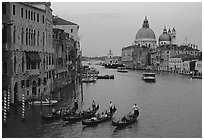 Gondolas, Grand Canal, Santa Maria della Salute church from the Academy Bridge,  sunset. Venice, Veneto, Italy (black and white)