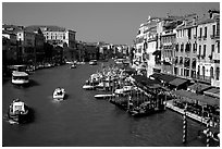Grand Canal near Rialto Bridge. Venice, Veneto, Italy (black and white)