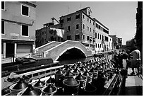 Delivery of wine along a side canal, Castello. Venice, Veneto, Italy ( black and white)