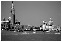 Campanile and Santa Maria della Salute across the Canale della Guidecca, mid-day. Venice, Veneto, Italy ( black and white)