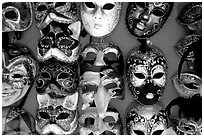 Close-up of traditional carnival masks, Burano. Venice, Veneto, Italy (black and white)