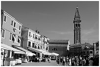 Street and church, Burano. Venice, Veneto, Italy (black and white)