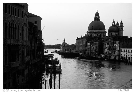 Church Santa Maria della Salute at the mouth of the Grand Canal, sunrise. Venice, Veneto, Italy (black and white)