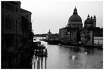 Church Santa Maria della Salute at the mouth of the Grand Canal, sunrise. Venice, Veneto, Italy ( black and white)