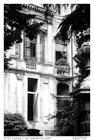 Palace seen through trees. Veneto, Italy (black and white)