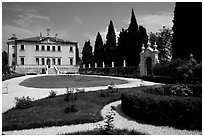 Gardnes and renaissance Villa Valmarana. Veneto, Italy (black and white)
