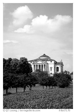 Orchard and Paladio Villa Capra La Rotonda. Veneto, Italy (black and white)