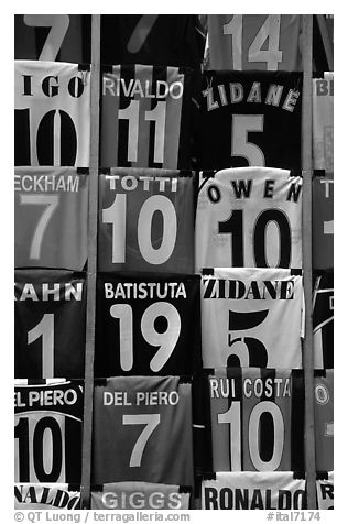 T-Shirts with colors of popular Italian soccer teams. Florence, Tuscany, Italy (black and white)