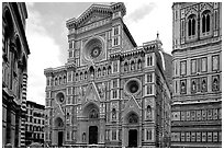 Facade of the Duomo. Florence, Tuscany, Italy ( black and white)