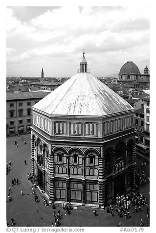 Baptistry seen from Campanile. Florence, Tuscany, Italy (black and white)