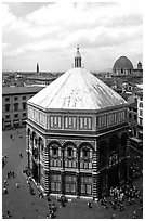 Baptistry seen from Campanile. Florence, Tuscany, Italy ( black and white)