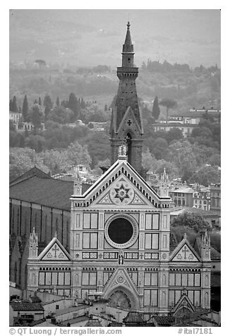 Santa Croce, seen from the Campanile. Florence, Tuscany, Italy (black and white)