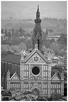 Santa Croce, seen from the Campanile. Florence, Tuscany, Italy ( black and white)