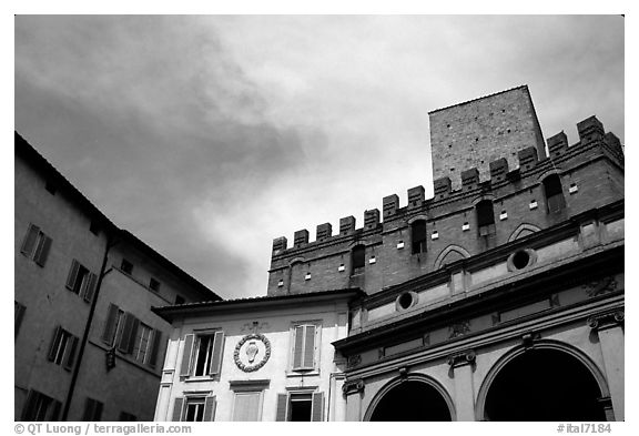 Mix of buildings of different styles. Siena, Tuscany, Italy (black and white)
