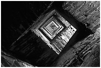 Stairs inside Torre del Mangia (Bell tower). Siena, Tuscany, Italy (black and white)