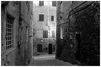 Narrow streets at dawn. Siena, Tuscany, Italy (black and white)