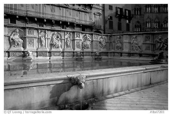 15th century Fonte Gaia (Gay Fountain) on Il Campo. Siena, Tuscany, Italy (black and white)