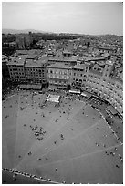 Piazza Del Campo seen from Torre del Mangia. Siena, Tuscany, Italy (black and white)