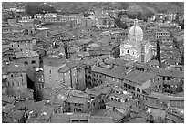 Chiesa di San Francesco seen seen from Torre del Mangia. Siena, Tuscany, Italy (black and white)