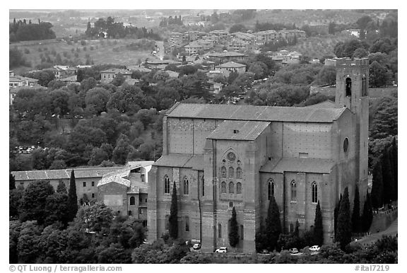 Church of San Domenico seen from Torre del Mangia. Siena, Tuscany, Italy (black and white)