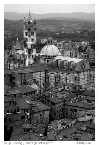 Duomo seen from Torre del Mangia. Siena, Tuscany, Italy (black and white)