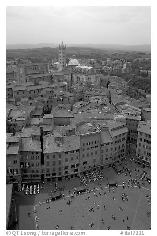 Piazza Del Campo and Duomo seen from Torre del Mangia. Siena, Tuscany, Italy (black and white)