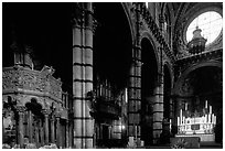 Interior of the Siena Duomo. Siena, Tuscany, Italy (black and white)