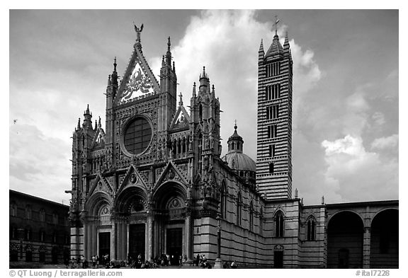 Black And White Picture Photo Renaissance Style Cathedral Afternoon Siena Tuscany Italy