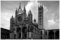Renaissance style cathedral, afternoon. Siena, Tuscany, Italy (black and white)
