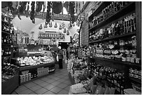 Produce store on Via San Giovanni. San Gimignano, Tuscany, Italy (black and white)