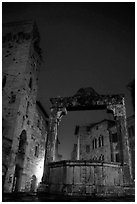 Well on Piazza della Cisterna at night. San Gimignano, Tuscany, Italy (black and white)